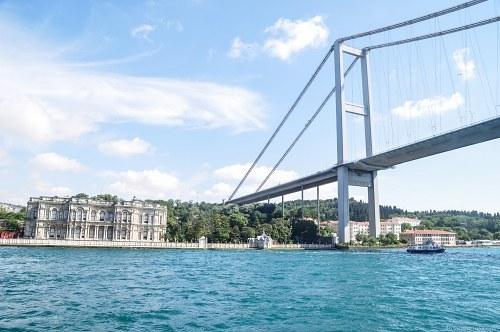 Turkish palace and Bosphorus bridge