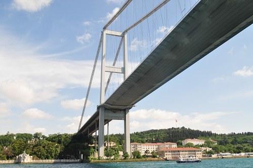 Under modern bridge