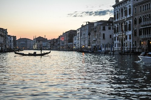 Venice gondola at sunset