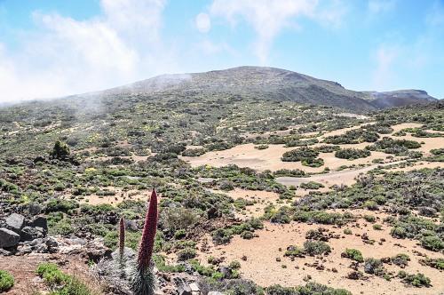 Volcano landscape clouds