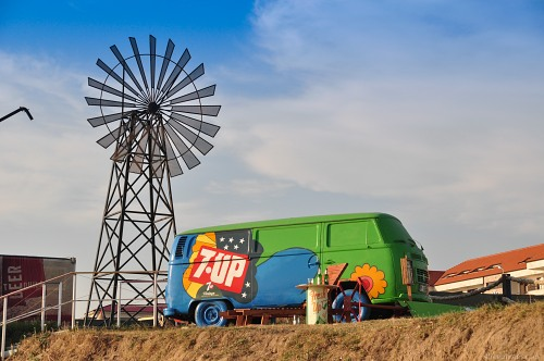 Windmill and bus