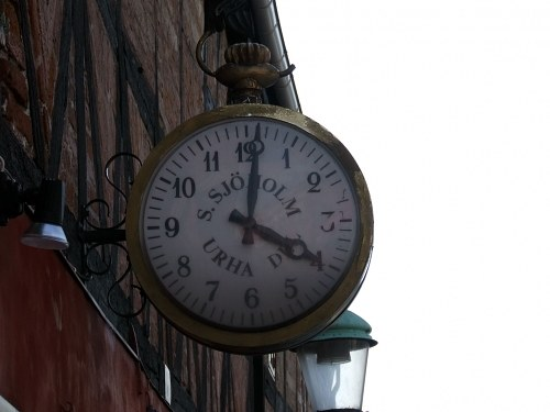 Classic clock on building