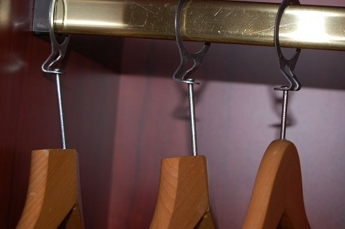 Closeup of metal clothes hanger