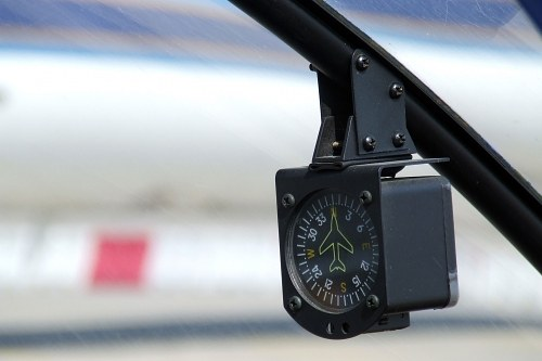 Compass in the windshield of a helicopter