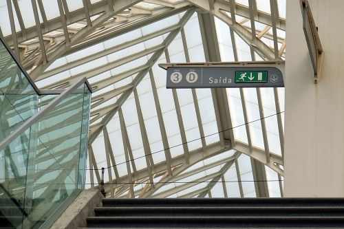 Free photos: Exit sign over stairs