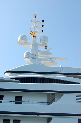 Mast of a luxury yacht