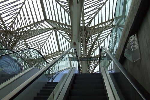 Modern roof of train station with perpendicular lines