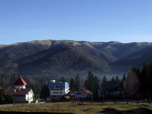 Mountain village in morning