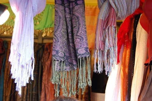 Multicolor scarfs sold for tourists