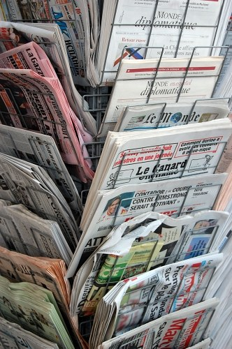 Newspapers in stand