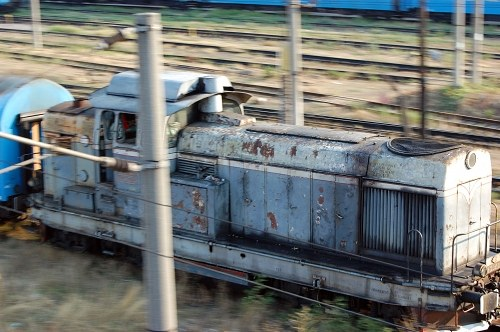 Old diesel locomotive in motion