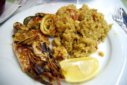 Paella on plate