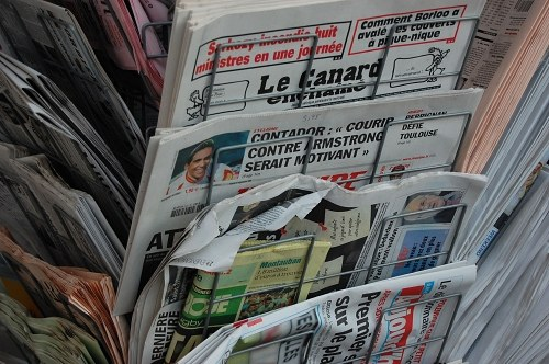 Portrait shot of newspapers