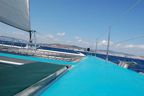Sail on a catamaran boat