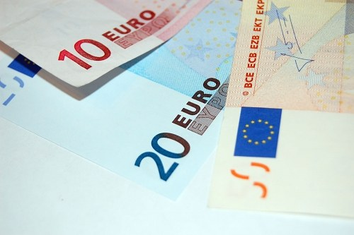 Three euro banknotes in fan