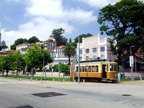 Tram in front of a station