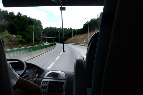 Travelling in a bus on highway
