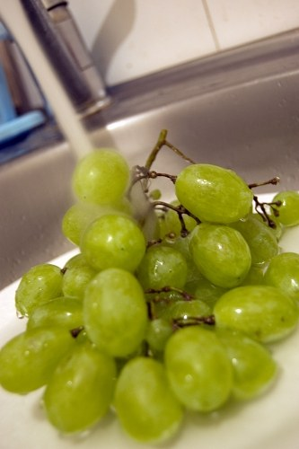 Washing white grapes