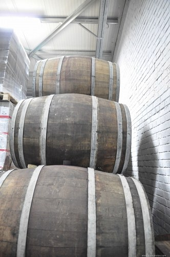 Barrels stacked in a cellar