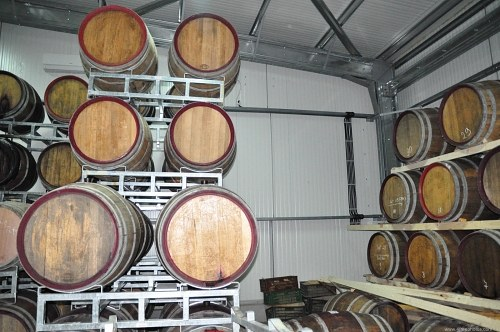 Barrels with wine in storage
