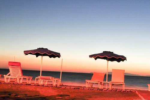 Beach chairs at dawn