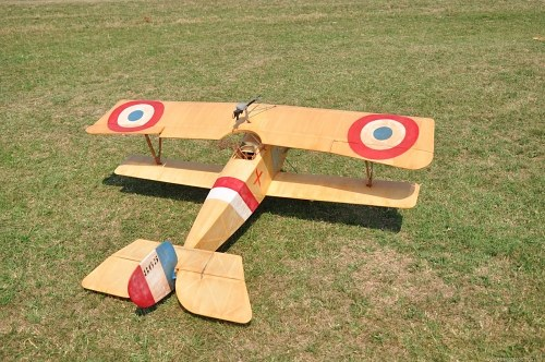 Biplane on grass field