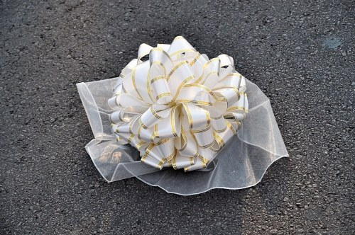 Bridal bouquet on sidewalk