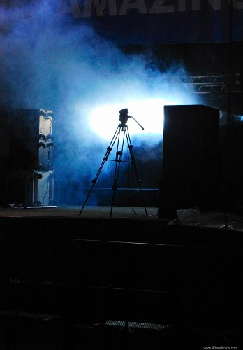 Camera tripod on stage