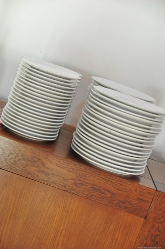Ceramic plates in kitchen