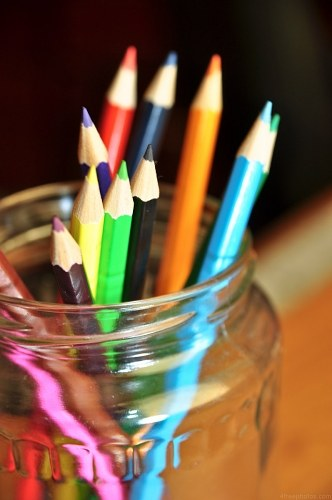 Free photos: Closeup of crayons in a jar