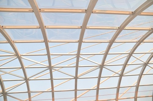 Curved glass roof