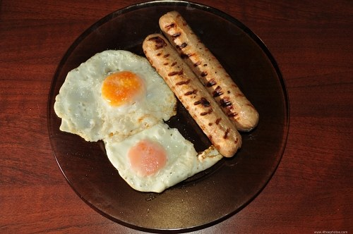 Eggs and sausages dish