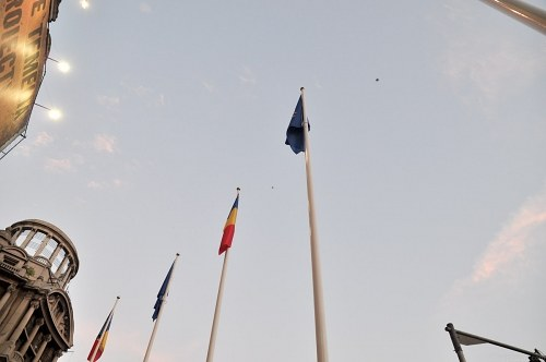 Flags and sky