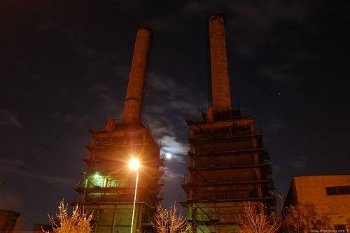 Large industrial towers at night