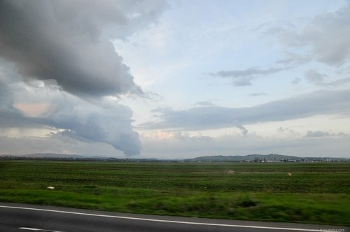 Large storm cloud over a plain