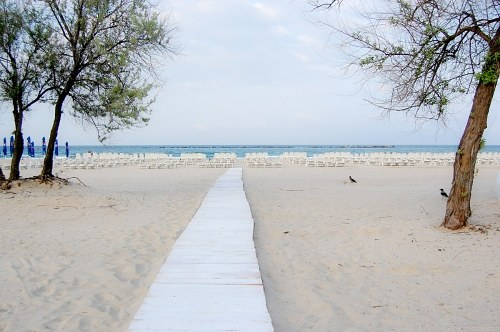 Long bridge on beach