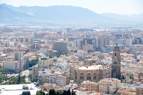 Malaga cathedral and city