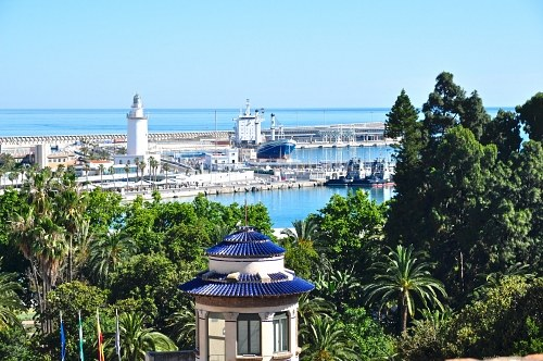 Malaga port and lighthouse