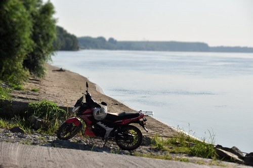 Motorcycle on river side