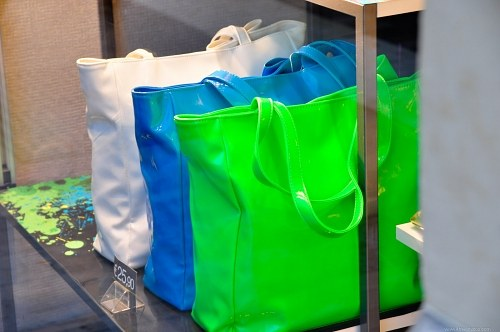 Multicolor bags in a store