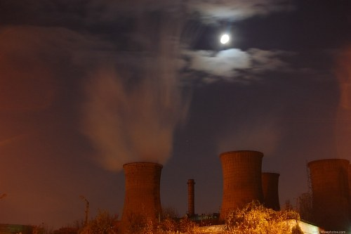 Night over power plant