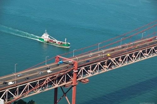Oil tanker passing bridge