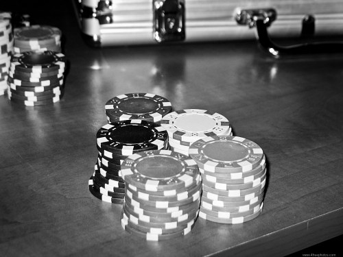 Poker table black and white