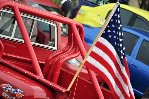 Red hot rod with us flag