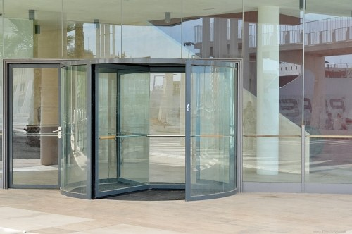 Revolving door in a office building