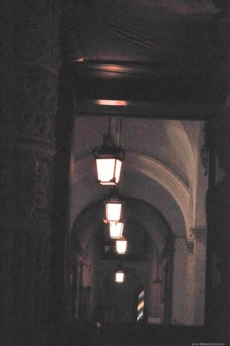 Row of chandeliers