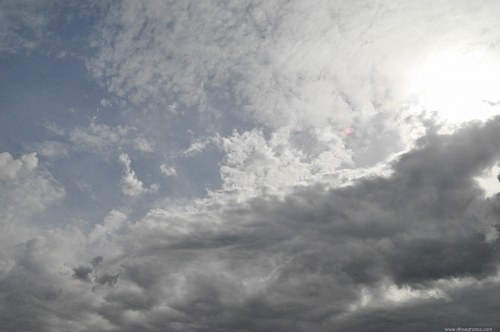 Scattered clouds and sun
