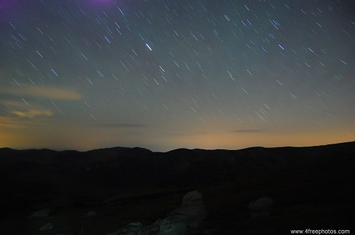 Free photos: Star trails over mountains