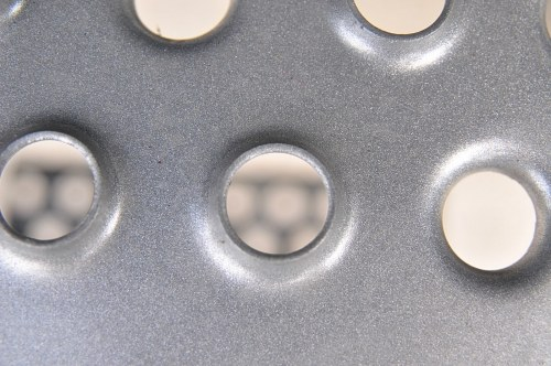 Steel surface with holes