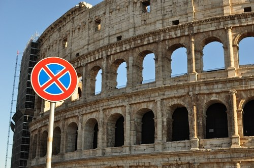 Stop sign at Colosseum